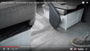 swivel seat conversion for a passenger seat in a sprinter camper conversion